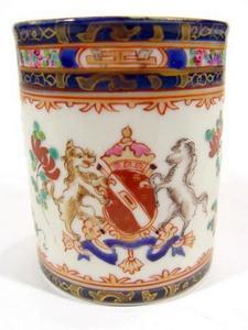 Armorial porcelain enameled tankard