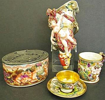 Pricing and identification for collectible and vintage capo di monte capodimonte style porcelain articles first half 20th century each with blue crowned n mark altavistaventures Images