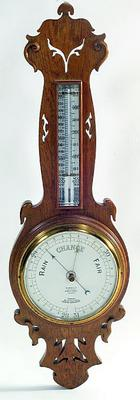 EDWARDIAN GOLDEN OAK BANJO BAROMETER