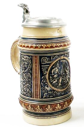 REINHOLD-MERKELBACH GERMAN STONEWARE BEER STEIN, in relief