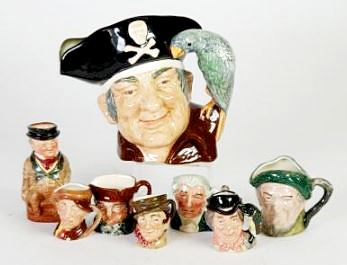 ROYAL DOULTON 'LONG JOHN SILVER' LARGE SIZE CHARACTER JUG, D6335; Royal Doulton 'Mr Pickwick' small TOBY JUG and SIX ROYAL DOULTON SMALL CHARACTER JUGS