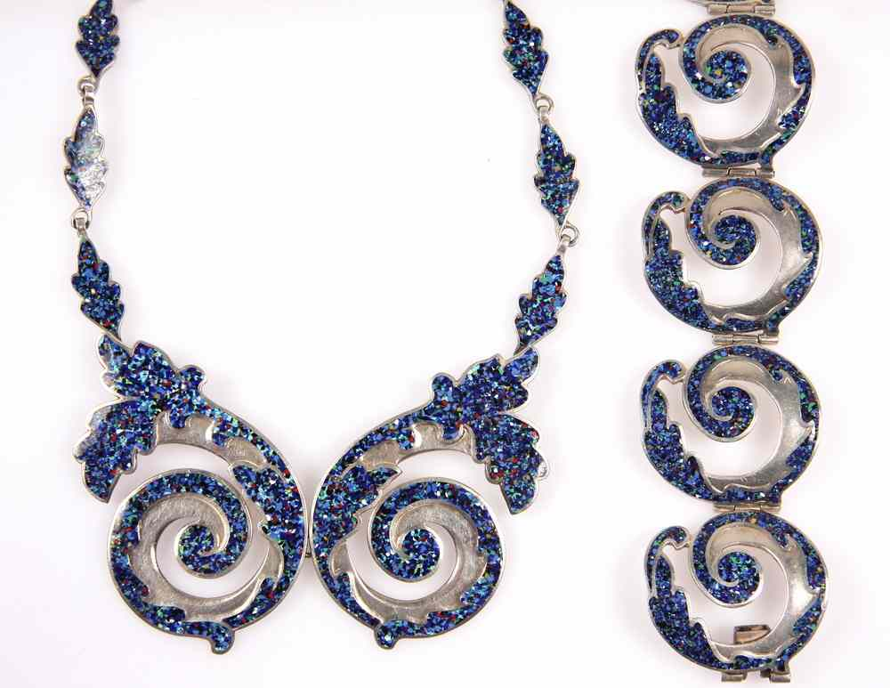 JEWELRY SET - Ca 1955 Blue enamel and sterling