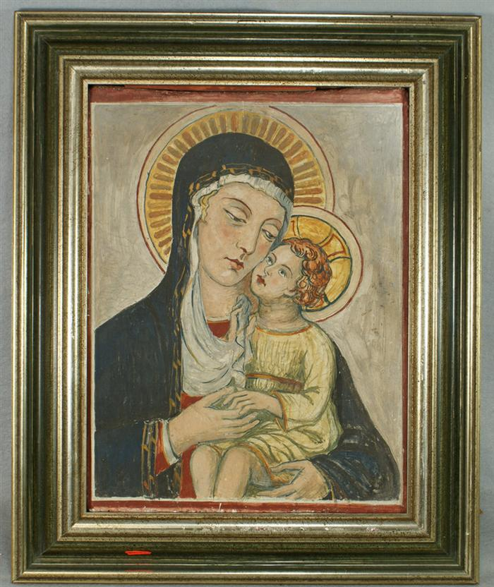 Hand painted Italian pottery tile, Madonna