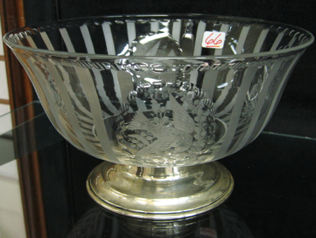 AMERICAN HAWKES CRYSTAL AND STERLING BOWL,