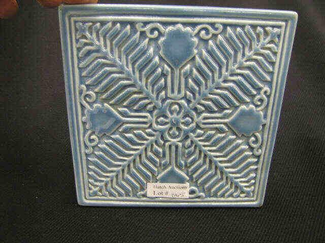 Rookwood Art Pottery Tile, blue glaze, carved
