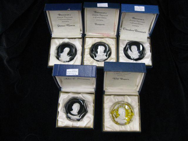 5 Baccarat Sulfide Paperweights; Theodore