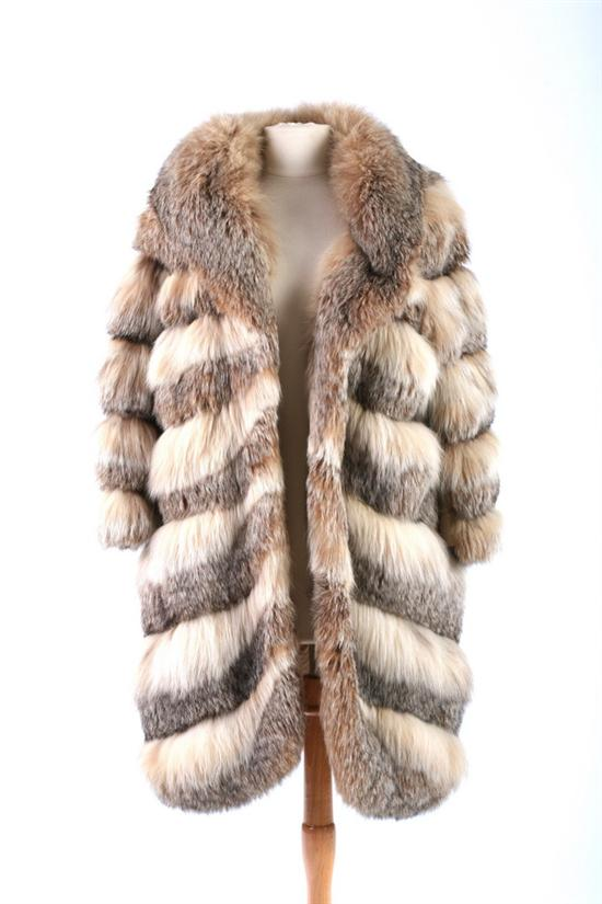 COOPCHIK FORREST FOX FUR COAT, 1970s. Satin