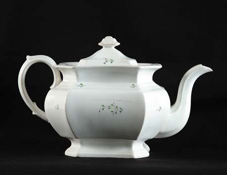 SPRIGWARE TEAPOT. White ground with small