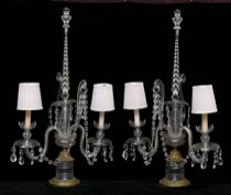 481. A Fine Pair of Crystal Lamps, circa