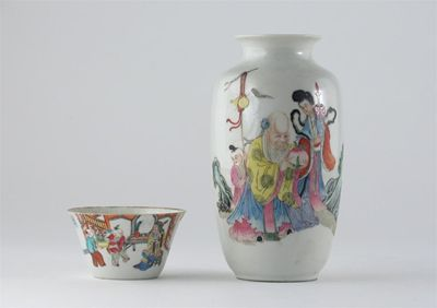 A Chinese famille rose vase, decorated with