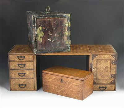 A Japanese parquetry travelling desk, with