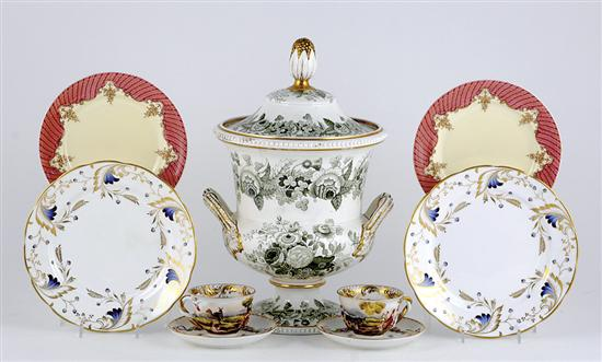 English porcelain plates, urns and European
