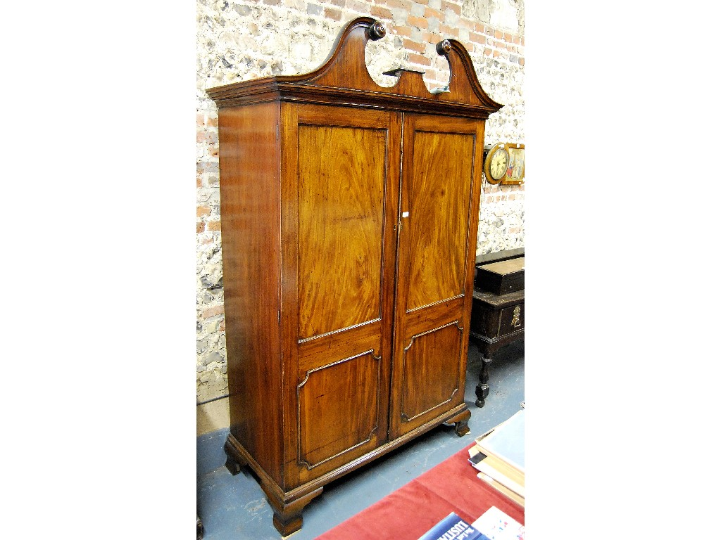 George III mahogany cupboard, the broken
