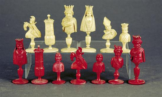 Carved bone chess pieces one set in natural