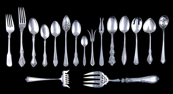 American sterling flatware and serving pieces