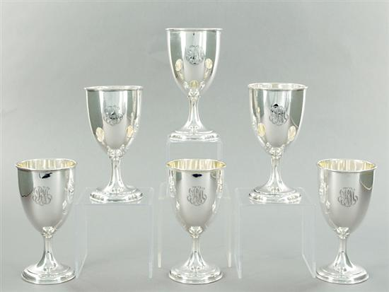 American sterling goblet set by Wallace engraved