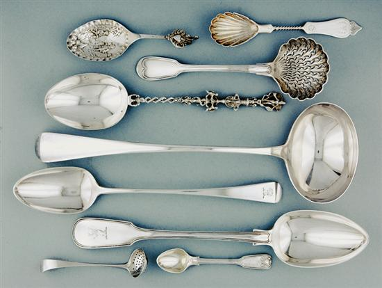 Collection silver flatware and serving pieces