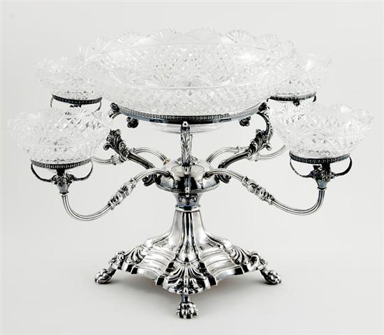 English silverplate and cut-crystal epergne