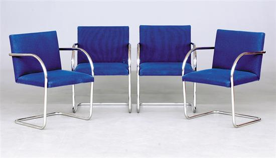 Knoll chrome and upholstered dining chairs