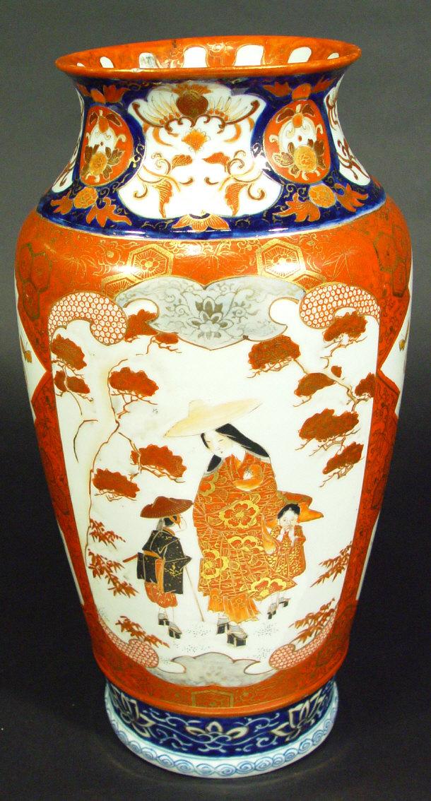 Price Guide For Large Japanese Kutani Porcelain Vase Painted