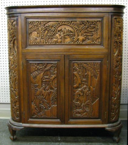 Carved Oriental Bar Cabinet With Multiple