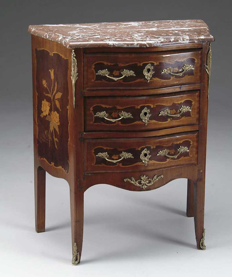 FRENCH LOUIS XV STYLE MARBLE TOP COMMODE.