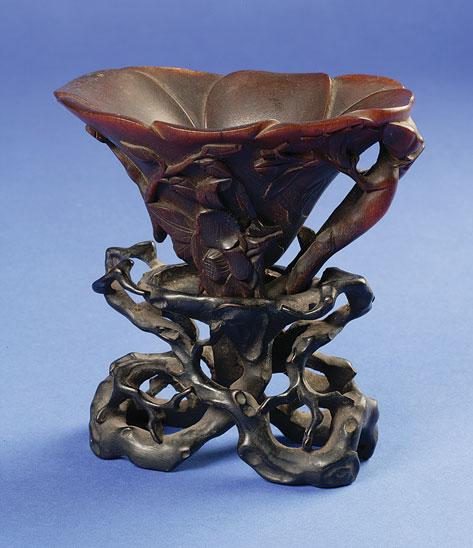 A CHINESE RHINOCEROS HORN LIBATION CUP with