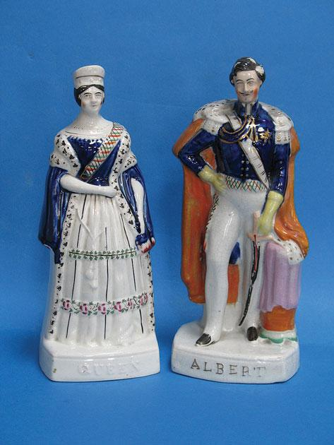 COMMEMORATIVE: A PAIR OF STAFFORDSHIRE FIGURES,