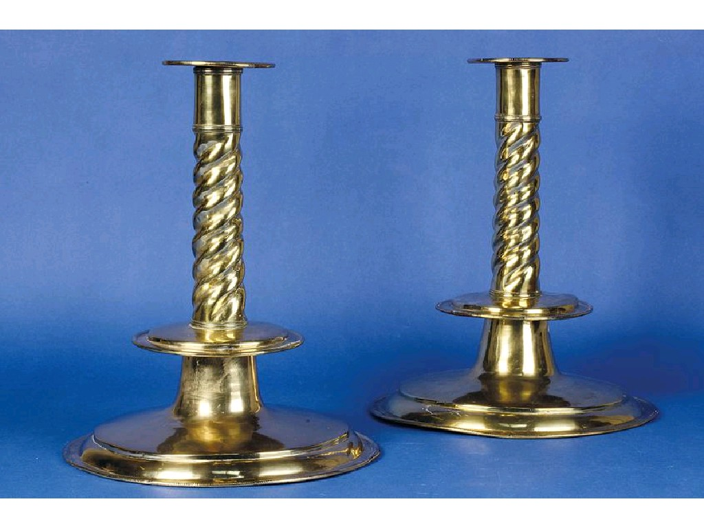 AN IMPORTANT PAIR OF ANGLO-DUTCH BRASS CANDLESTICKS