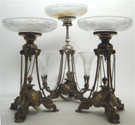 A silver plated epergne garniture