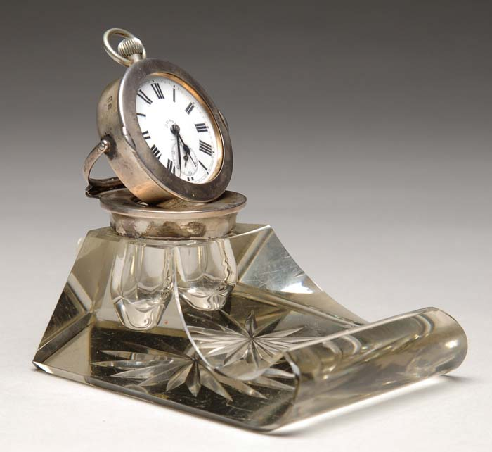 INTERESTING STERLING AND GLASS DESK CLOCK