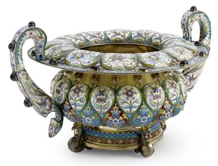 A Russian large silver-gilt and cloisonné
