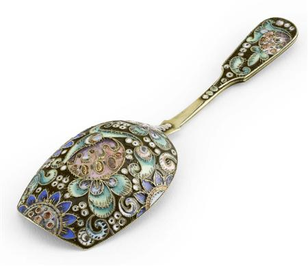 A Russian silver-gilt and shaded cloisonné