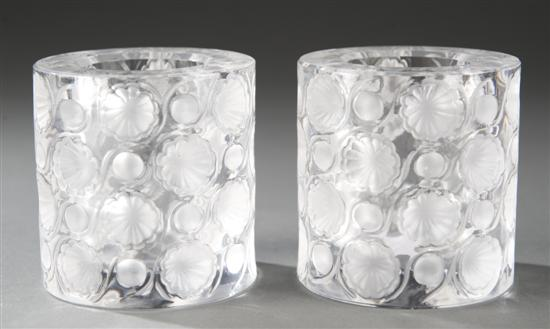 Pair of Orrefors crystal candleholders with
