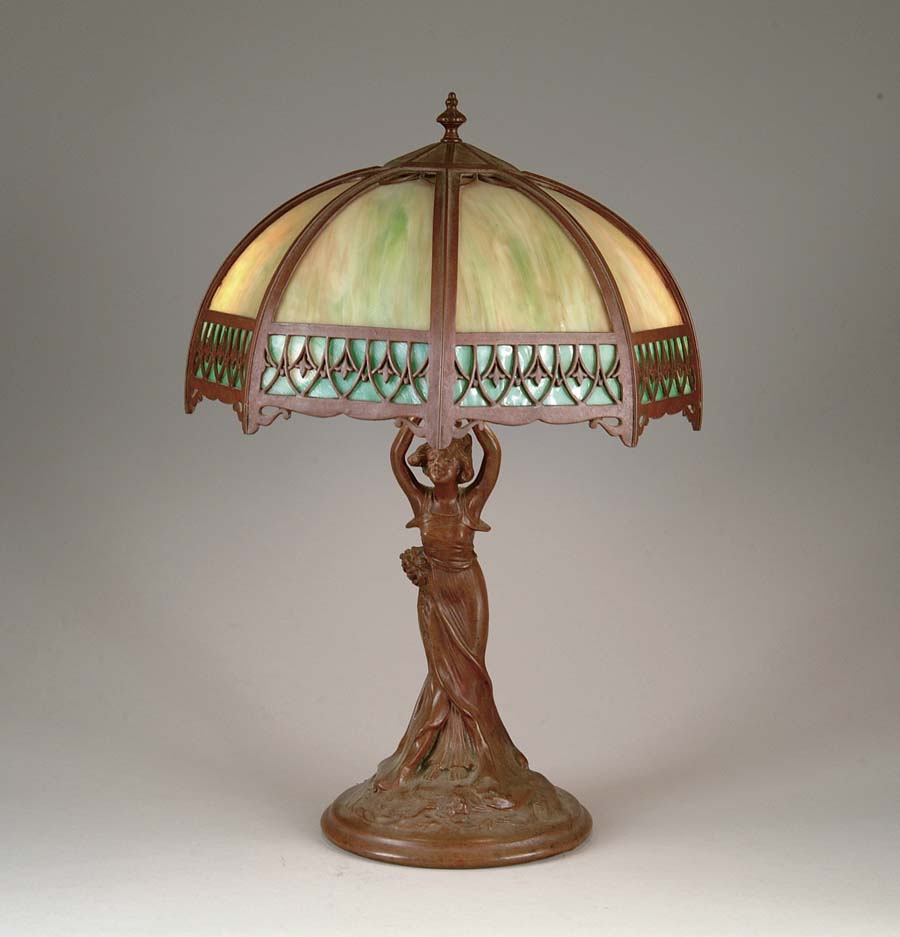 FIGURAL SLAG GLASS LAMP. Wonderful petite