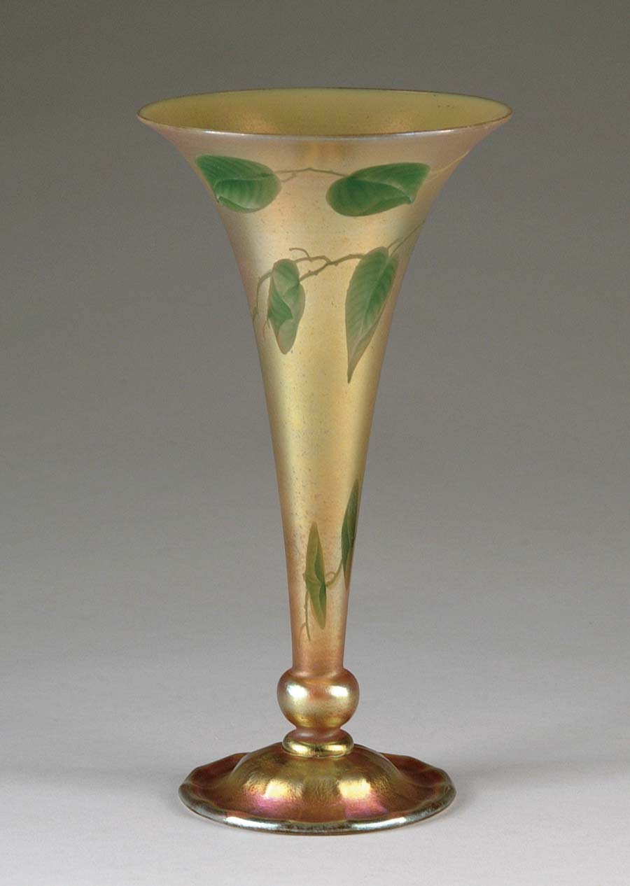 TIFFANY INTAGLIO CARVED TRUMPET VASE. Exceptional