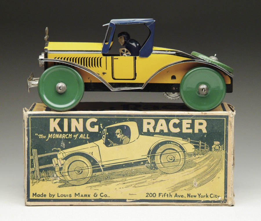 MARX KING RACER W/OB. Lithographed yellow