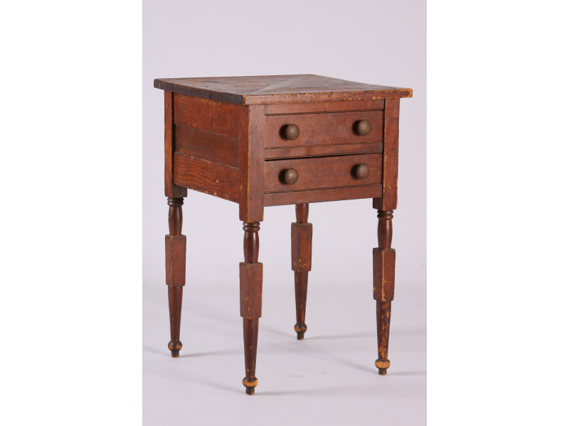 Two Drawer Inlaid Side Table, Probably NY,