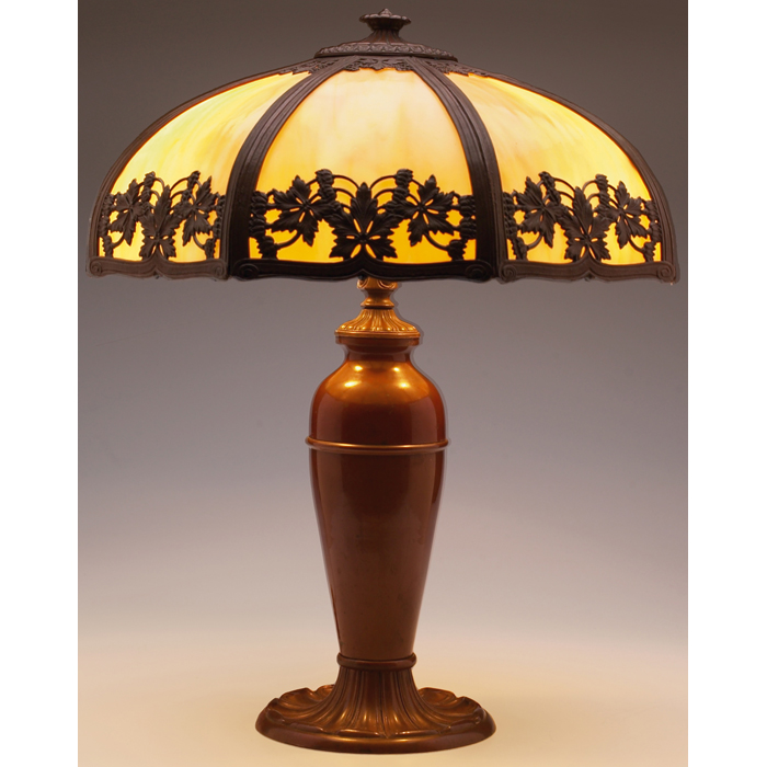 Arts and Crafts table lamp, bronzed metal