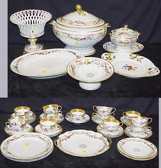 Paris porcelain partial dinner service, c.