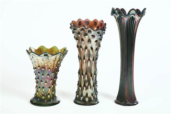 Price Guide For Three Carnival Glass Vases Blue Fine Rib
