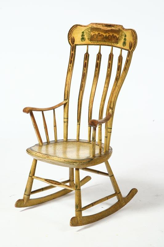 DECORATED ROCKING CHAIR. American, 2nd quarter-19th