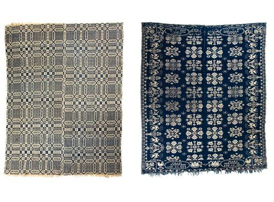 TWO COVERLETS. Jacquard coverlet, probably