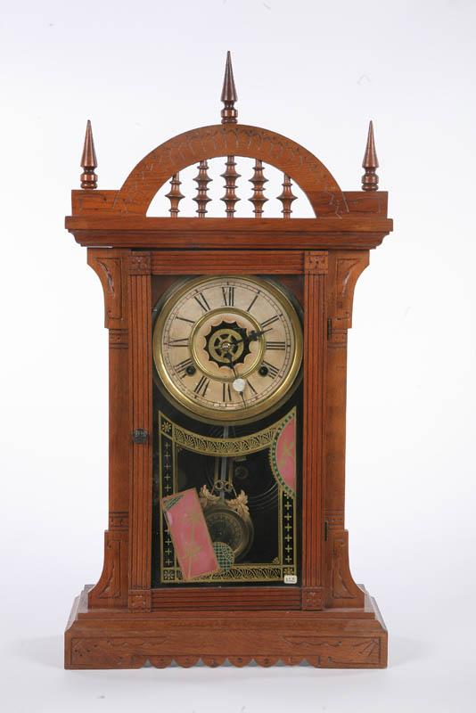 WATERBURY MANTLE CLOCK. Eight day, time and