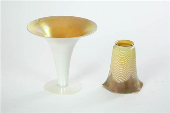 TWO PIECES IRIDESCENT ART GLASS. Trumpet