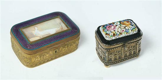 TWO JEWELRY OR TRINKET BOXES. Includes a