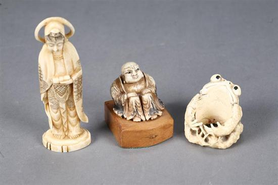 THREE IVORY CARVINGS. Asian, late19th-early