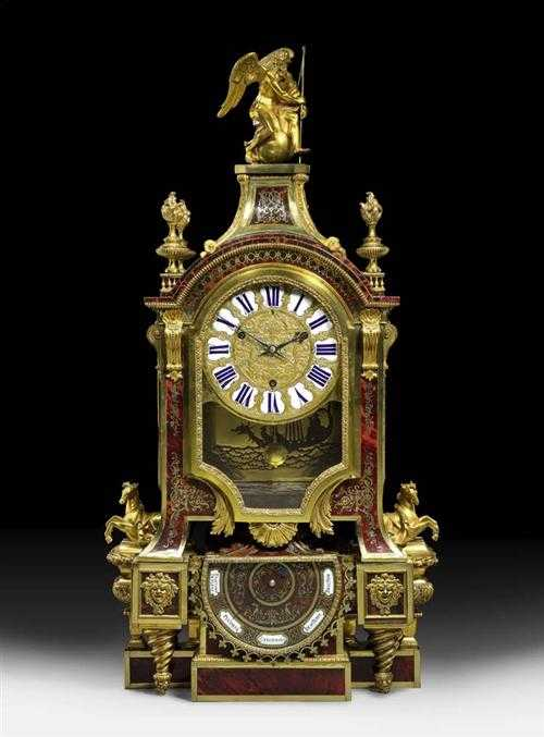 "IMPORTANT CLOCK ""AUX CHEVAUX"" WITH BAROMETER,Louis"