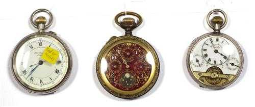LOT OF 3 POCKET WATCHES, ca. 1880-1915. Silver