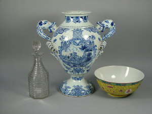 A Delft pottery twin handled pedestal vase,